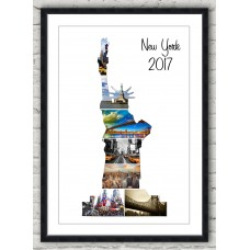 Statue of Liberty Frame Print (blk/wh)