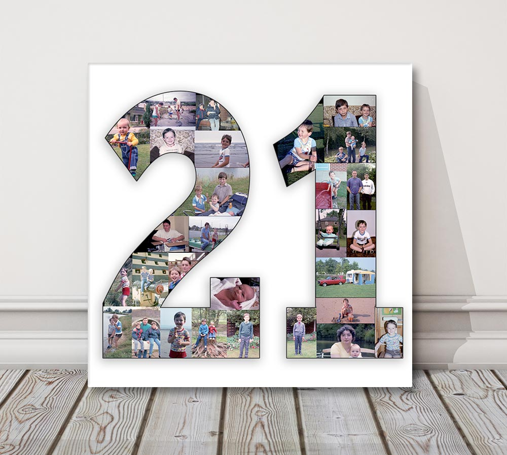 Number Photo Collage Canvas Print 1 2 3 18 21 50 70 80 . birthday ...