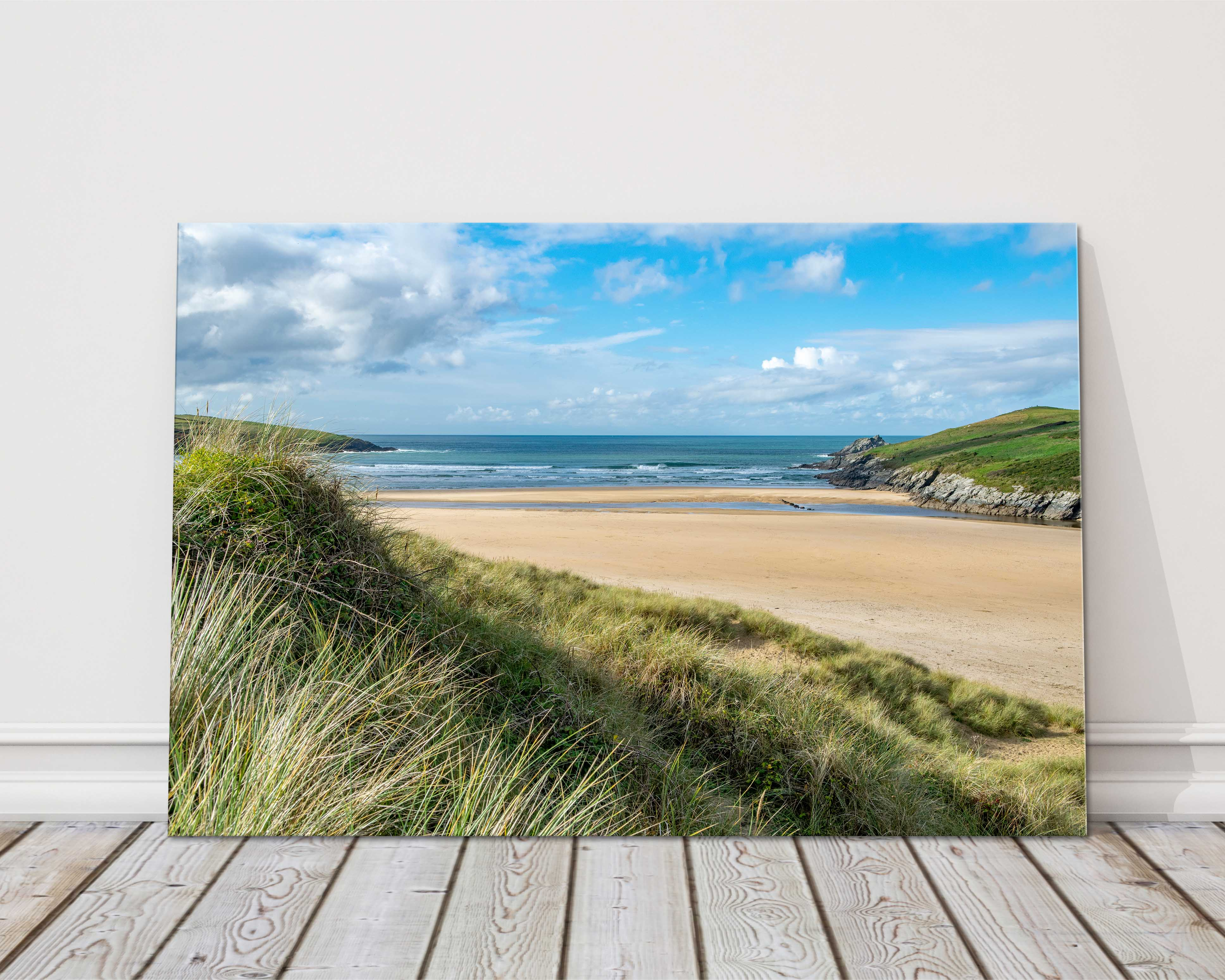 Crantock beach from cornwall canvas print framed picture wall art waves Newquay